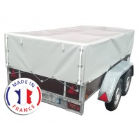 Bâche Remorque Hauteur 70-135 cm Premium Sur Mesure Avec Ouverture Arrière - 900 gr/m²