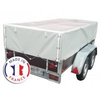 Bâche Remorque Hauteur 70-135 cm Premium Sur Mesure Avec Ouvertures Avant et Arrière - 900 gr/m²