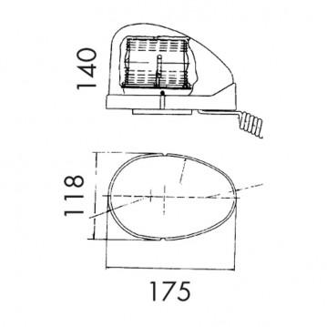 Gyrophare GOUTTE D'EAU 12V fixation magnétique
